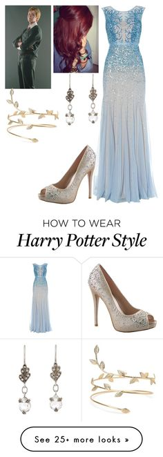 """Yule ball with Fred Weasley -Harry Potter-"" by madeinchina03 on Polyvore featuring Lauren Lorraine, Adrianna Papell and Cathy Waterman"