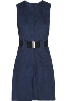 Victoria Beckham Denim Belted denim dress   NET-A-PORTER