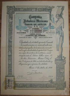 MEXICO Compania Petrolera Mexicana Faros de Aztlan 50 Shares 1916 +coupons