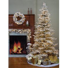 Pre-Lit Flocked Pine Christmas Tree from Kirkland's Elegant Christmas Trees, Pine Christmas Tree, Christmas Time Is Here, Coastal Christmas, Outdoor Christmas Decorations, Pink Christmas, Christmas Home, Holiday Decor, Xmas Holidays