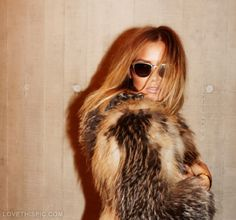 Fur fashion sunglasses fur coat fashion photography