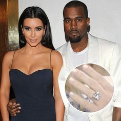 Kim Kardashian with current husband Kanye West - married in 2014: Top 23 Enviable Celebrity Engagement Rings - Jeweller Magazine: Jewellery News and Trends