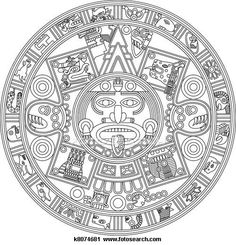 Clipart of Mayan Calendar Line Illustration k8074681 - Search Clip Art, Illustration Murals, Drawings and Vector EPS Graphics Images - k8074681.jpg