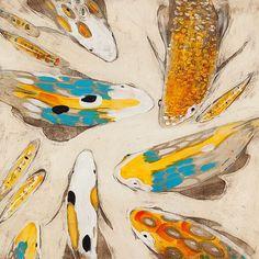 """""""Koi on White"""" by #JosephBradleyStudio    Oil and Metal-Leaf on Panel  24x24""""    #koipond #koiart #galleryorange"""