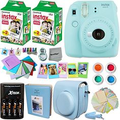 Fujifilm Instax Mini 9 Instant Camera PINK Fuji INSTAX Film 40 Sheets Accessories Kit Bundle Custom Case 4 AA Rechargeable Batteries Charger Assorted Frames Photo Album MORE ** For more information, visit image link. Instax Mini 8 Camera, Instax Film, Fujifilm Instax Mini 8, Mini Polaroid, Fuji Instax, Camara Fujifilm, Yellow Accessories, Camera Accessories, Instant Film Camera