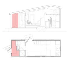 Tiny House on Wheels with Lots of Storage - - This is Robert & Samantha's tiny house on wheels with lots of storage! In fact, it probably has more storage than I've seen in any other tiny home on wheels. What do you think about their solution for. Shed To Tiny House, Tiny House Company, Tiny House Layout, Tiny House Stairs, Tiny Houses For Rent, Tiny House Exterior, Tiny House Storage, Tiny House Trailer, Modern Tiny House