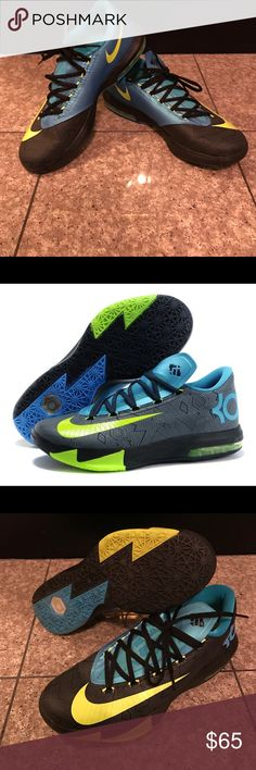 Brand New 2014 KD6 Nikes These Nikes by Kevin Durant have only been worn once in a Basketball Gym, so they are in perfect condition with no wear and tear! They are incredibly comfortable and fashionable for men! The US 9.5 sizing is in Men's! Make and offer and these babies are all yours! Nike Shoes Sneakers