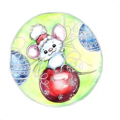 Little Mouse on a Bulb. Little Mouse on a Bulb. Christmas Animals, Christmas Mugs, Christmas Crafts, Christmas Ornaments, Cute Bear Drawings, Cartoon Drawings, Christmas Drawing, Christmas Paintings, Mouse Crafts