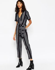 ASOS COLLECTION ASOS Premium Stripe Jumpsuit with Wrap