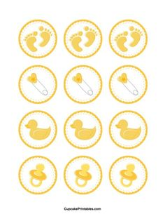 Baby shower cupcake toppers. Use the circles for cupcakes, party favor tags, and more. Free printable PDF download at http://cupcakeprintables.com/toppers/baby-shower-cupcake-toppers/