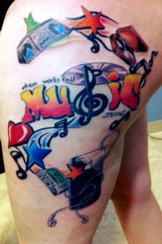 My love of music tattoo that my son, then 19 years old, drew for me. Ink by Joe Maye at 2 Ton Tattoo.