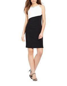 Lauren Ralph Lauren Embellished Sleeveless Dress Women's Black/White 4