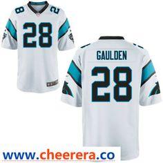 Men s Carolina Panthers  28 Rashaan Gaulden White Road Stitched NFL Nike  Game Jersey 64f0d35cd