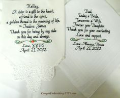 Two Personalized FAMILY WEDDING HANKIE'S Parents Mother of the Bride & Father of the Bride Gifts Hankerchief -  By Canyon Embroidery