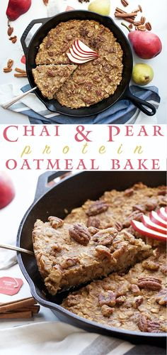 Chai + Pear Protein Oatmeal Bake - warming spices are perfect for breakfast this holiday season, and it's great for meal prep!