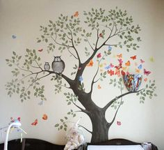 wall painting with tree and birds