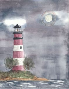 watercolor paintings of lighthouses | Watercolor - Lighthouse by donna-neely