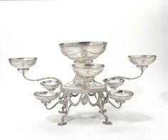 Table centrepiece1778-1779Silver, pierced, chased and engraved, with cut glass