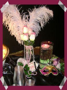 Masquerade Feather Centerpiece - PURIM
