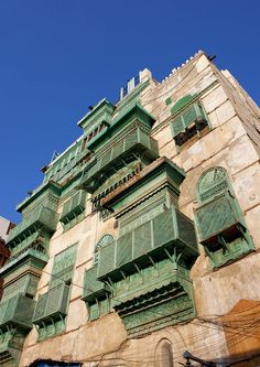 ARABIAN painted mashrabiya (shanasheel) windows in Jeddah old town, Saudi Arabia:
