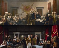 """The descendants of U.S. founding figures gathered to recreate this iconic painting 241 years after the signing of the Declaration of Independence, and in doing so, they helped illustrate the true diversity of the country.  Artist: (top) """"Declaration of Independence"""" by John Trumbull, 1819; Photo credit: (bottom) Ancestry, July 2017."""