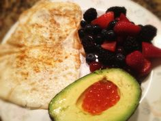 Eggs (Curry and Sea Salt), Avocado with Salmon Roe, and Berries: 6/13/13