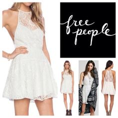 """Free People Lace Mini Dress.  NWT. Free People Ice Combo (Soft Mint/Cream Lace) Mini Dress, nylon/polyester, washable, 17"""" armpit to armpit (34"""" all around), 30"""" waist, 34"""" length, flattering fit-n-flare silhouette, sheer floral lace overlay is embellished with sparkling silver sequin dots throughout, high neckline, sleeveless design with dropped armholes, fitted waist, sheer back, hidden back zip with hook and eye closure, partially lined, ribbon-trimmed all around, measurements are approx…"""