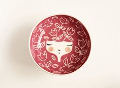 TABLEWARE with CHARACTER 100% handmade and unique, Croatian product  Ceramic bowl in DARK RED colour, engraved with tulips. *These handmade