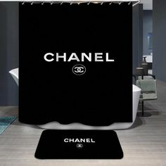 Chanel Logo Custom Shower Curtain - inches(W*H) (Bundle price) Custom Shower Curtains, Bathroom Curtains, Fabric Shower Curtains, Chanel Bedroom, Chanel Decor, Bathroom Drawers, Bathroom Sinks, Chanel Logo, Coco Chanel