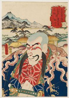 Utagawa Kunisada (1786 - 1864) (designer) Hori Take (active c. 1852) (block cutter) - The character Nyūdō Shinsai at Soga village, between Odawara and Hakone Tōkyō, 1852; Woodblock print; EA1983.65 #Tashmolean