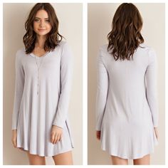 Jersey Knit Staple Dress {silver} Solid jersey v-neck dress with round hem line. Unlined. Non-sheer. Knit. Lightweight.  95%RAYON 5%SPANDEX Other