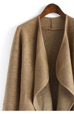 Just Knitted Open Coat in Brown - Outers - Retro, Indie and Unique Fashion