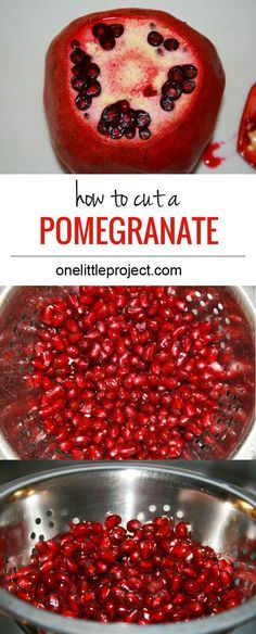 How to cut a pomegranate. This is such an easy way to separate all of the seeds and the pulp without making an enormous mess!