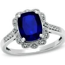 Zales Cushion-Cut Lab-Created Sapphire Vintage-Style Ring in Sterling Silver -Size 7 sapphire