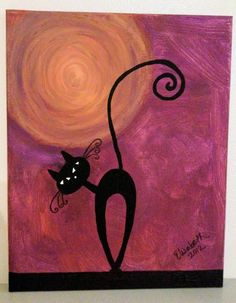 Black Cat by MoxieGirlPaintings on Etsy