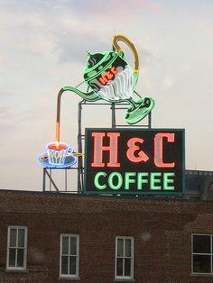 H & C Coffee - Neon Sign, Roanoke, Virginia Coffee Talk, I Love Coffee, My Coffee, Nitro Coffee, Coffee Break, Coffee Menu, Coffee Girl, Coffee Scrub, Coffee Shops