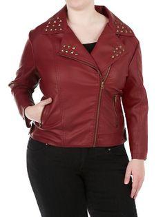dots: Plus Asymmetrical Zipper Studded Jacket