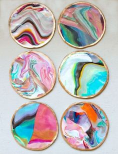Mix different colors of clay to make these marbled coasters. Get the tutorial at Sarah Johnson.