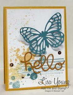 Stampin' Up! Gorgeous Grunge stamp set with die cut Butterfly and hello. Handmade card by Lisa Young, Add Ink and Stamp