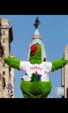 The Phillie Phanatic celebrating WS 2008. Facing City Hall.