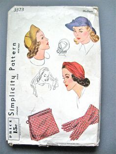 Vintage Hat Pattern by Simplicity 3323  Size is by Fancywork, $48.00