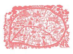 paris map screen print