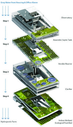"""At interesting take on grey water reuse and hydroponics - """"the vertical wetland""""."""