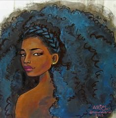 Work by The talented artist Keturah Ariel. AFro hair art.