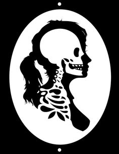 silhouette of woman with skeleton