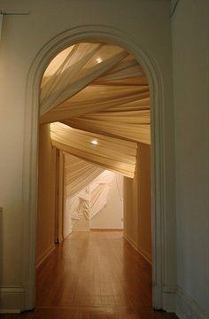 envelop (entrance), by Carlie Trosclair. (2011). Muslin 44' x 6' x 11' #art #fullart #artinstallations