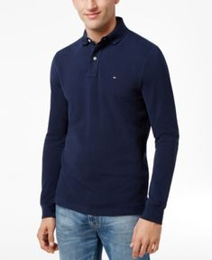 Tommy Hilfiger Men's Long-Sleeve Classic-Fit Polo  - Blue XXL