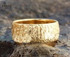 Thick Gold wedding band, 14k yellow Gold , Hammered Wedding Band , Textured  ring ,unisex gold ring ,nature inspired, recycled gold