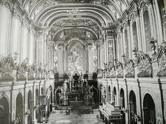 Basilica of Santa Chiara, Naples. This is a photo of the nave showing the Baroque remake of 1742 by Domenico Antonio Vaccaro and Gaetano Buonocore.