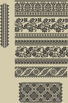 Ukrainian traditional patterns from Sokal Cross Stitch Borders, Cross Stitch Charts, Cross Stitch Designs, Cross Stitching, Cross Stitch Patterns, Blackwork Embroidery, Folk Embroidery, Cross Stitch Embroidery, Knitting Charts